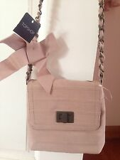 TopShop Nude Pink Grossgrain Ribbon Bow Quilted Chain Mini Vintage Small Bagg