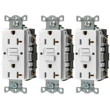 125-V 20-Amp GFCI Fault White Duplex Electrical Receptacle Outlet-Plug (3-Pack)