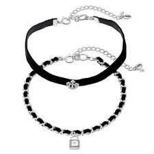 JUICY COUTURE silver tone Lock & Crown Black Faux Suede Choker Necklace Set NEW