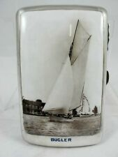 """STERLING SILVER CIGAR CASE WITH ENAMEL PICTURE OF A YACHT """"BUGLER"""" C 1912"""