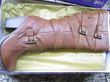 NEW STEVE MADDEN MADDEN GIRL KIICKBAK COGNAC TALL BOOTS WOMENS 7.5 KNEE HIGH TAN