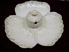 Vintage Ceramic Flower Serving Dish with Condiment Bowl Made in Italy