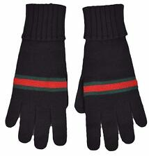 BNWT Beautiful Designer GUCCI Mens Black Wool Gloves Size M or L  ITALY