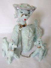 Spaghetti Poodle With 2 Pups Figurine, Blue W/ Pink Hat, Porcelain, New Chain