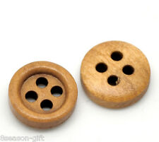 """200PCs Coffee 4 Holes Round Wood Sewing Buttons 11mm(3/8"""") Dia."""