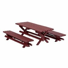 Dollhouse Miniature  - Redwood Picnic Table with Benches