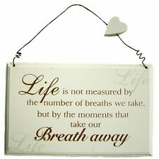 Vintage Chic MOMENTS THAT TAKE OUR BREATH AWAY Heart Wooden 2D Wall Plaque Sign