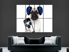 PUG FUNNY MUSIC HEADPHONES  GIANT WALL POSTER ART PICTURE PRINT LARGE HUGE
