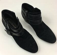 Sam Edelman Pippen Women's Size 10/41.5 Black Suede Leather Buckles Ankle Boots