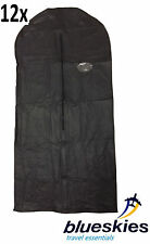 12 x Black Breathable Garment Suit Dress Clothes Cover Travel Bags Lightweight