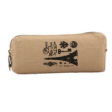 Memory Paris Pencil Pen Case Canvas Bag Coin Pouch Zipper Bag Purse Brown tower