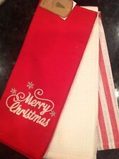 WELL DRESSED HOME TEA TOWELS (3) MERRY CHRISTMAS RED 100% COTTON NWT