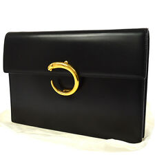 Auth CARTIER Logos Panther Clutch Hand Bag Black Leather Vintage Italy K07667