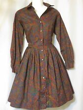 Vintage 50's 60's Full Skirt Multi-Color Paisley Dress  Country Miss