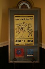 THE CURE AUTOGRAPHED SIGNED WISH TOUR POSTER WITH CD ART & BACKSTAGE PASS! RARE!