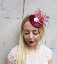 Burgundy Red Ivory Feather Pillbox Hat Fascinator Hair Clip Vintage Races 2613