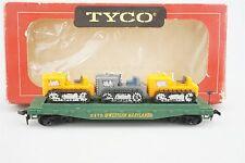 HO Scale Model RTR Tyco 351A WM Western Maryland 40' Flat Car 2475 w/ 3 Tractors