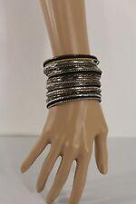 New Women Antique Gold Silver Black Bracelet Bangle Fashion Multi Layer Metal