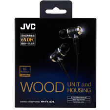 NEW BOXED JVC KENWOOD Victor Wood Stere In-Ear Headphones HA-FX1100 FX1200 Black