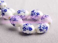 10pcs 15x10mm Ceramic Porcelain Big Hole Oval Flower Loose Spacer Beads Jewelry