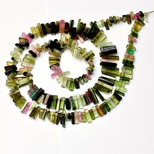 Pink Green Blue Faceted Tourmaline Crystal Beads 16 inch strand