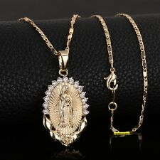 18K GOLD PLATED BEAUTIFUL VIRGIN MARY CROSS JESUS PENDANT CATHOLIC GOD