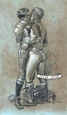Football Embraces Felix dEon Signed Limited Editon Print Gay Art Male Drawing