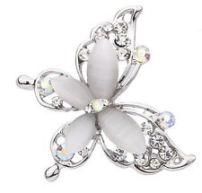 Women Fashion Silver Plated Crystal Rhinestone Butterfly Pin Brooch Jewelry