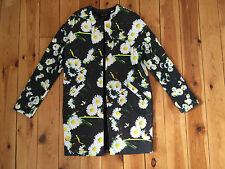 NEW RIVER ISLAND LADIES BLACK DAISY PRINT LONG JACKET UK6 (EUR32) £75