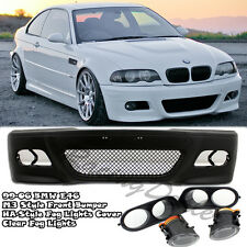 99-05 BMW 3-Series E46 M3 Style Front Bumper+Clear Fog Light+ HA Style Cover 4Dr