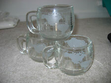 Vintage Lot of 3 NESTLE Clear Glass w/ Frosted World Map Mugs