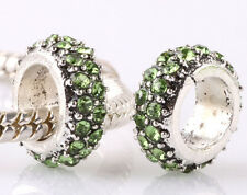 green 925 Silver Circle CZ Charm Beads Fit sterling Bracelet Chain DIY A#230