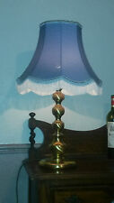 Beautiful Vintage Solid Brass Table or Desk Lamp with Lovely Blue Fringed Shade