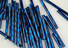 Czech Twisted Indigo Blue Bugle Loose Craft Jewelry Glass Beads 30mm - 100 pcs
