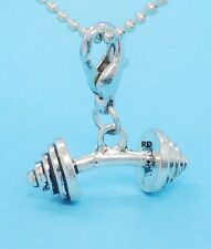 3 D Barbell,Bodybuilding, Weight Lifting Clip -ON Lobster Claw Charm