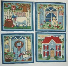 Country Farm (Set A) 4 Square Panels each 20cm sq.100% cotton fabric, to make up