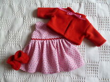 BJB dolls clothes Pink spotty dress red jacket + booties 3pc fit babyborn doll