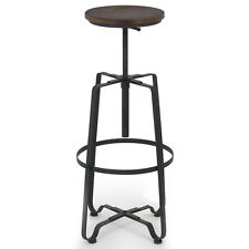 Rustic Bar Stool Industrial Vintage Armless Adjustable Swivel Top Chair Barstool