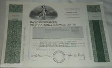 Basic Resources International 100 Shares Sept 5, 1985 Ordinary Shares Stock See!