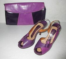 Stanley Philipson Two Tone Leather Shoes and matching bag  Sz 6.5 M
