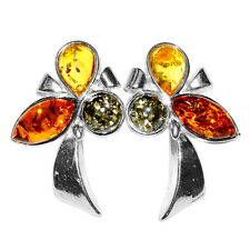 3.05g Authentic Baltic Amber 925 Sterling Silver Earrings Jewelry A5882B
