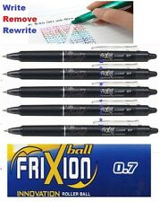5pcs Pilot FriXion Clicker 0.7mm erasable roller ball pen BLACK INK UK Sell