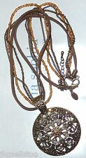 "NWT LIA SOPHIA ""ROSETTE"" NECKLACE - TOPAZ CRYSTALS & GOLD FILIGREE - 2010/$78"