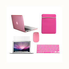 "5 in1 Crystal PINK Case for Macbook PRO 15"" Retina+ Key Cover +LCD + Bag+ Mouse"