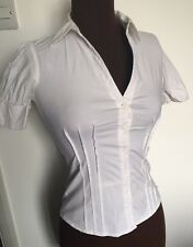 MISS SELFRIDGE blouse women's white fitted top sz 8 smart shirt short sleeves