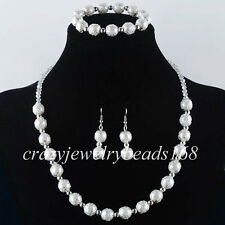 White Crystal Pearl Round Beads Necklace Bracelet Earrings SET Charm M808