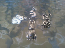 EASTER BUNNY ANIMAL JEWELRY 4 RABBIT PINS COLLECTION ALL NEW.