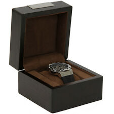 TSBX100BRN Engravable Single Watch Box 1 Extra Large Watch Espresso Brown Wood