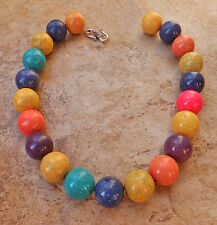 GUMBALL RAINBOW MAGNESITE PINK BLUE yellow PURPLE AQUA COLORBLOCK NECKLACE XL