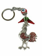 Rooster Red Rhinestones Evil Eye Key Chain Key Ring Feng Shui
